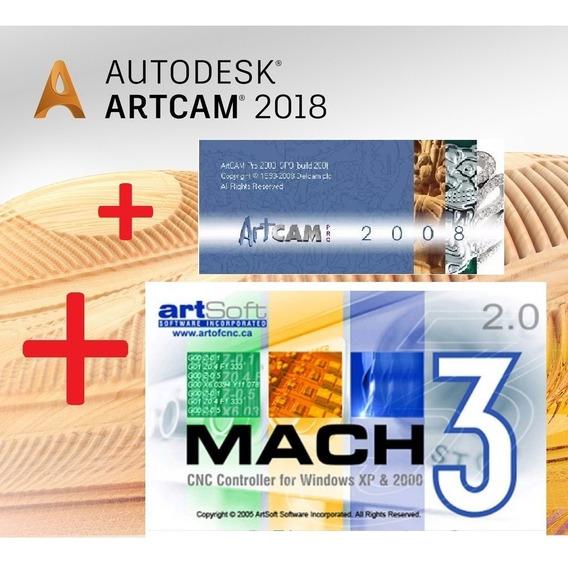 Artcam 2008 + Artcam 2018 + Mach3 Licenciado Português