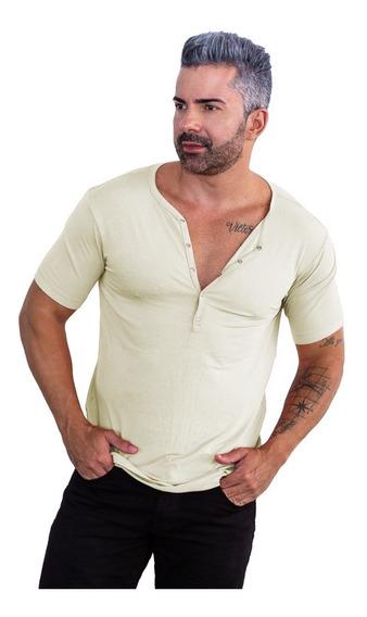 Camisa Henley Slim Botão De Pressão Masculina Manga Curta