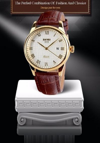 Relógio Skmei Luxo Branco E Dourado