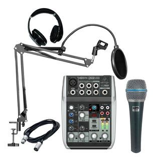 Kit Radio Grabacion Behringer Consola Usb + Microfono + Acc