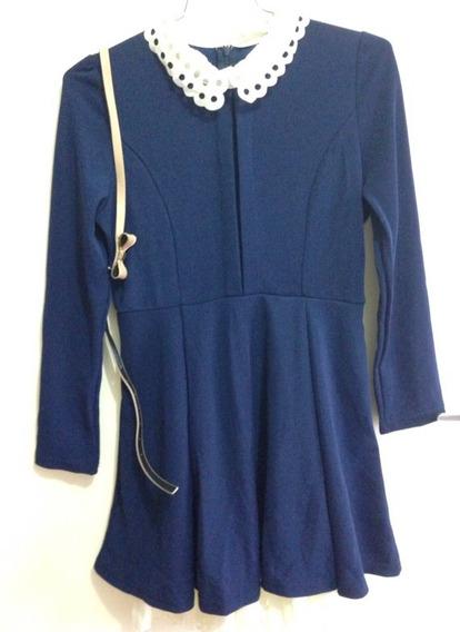 Vestido Importado Azul Marinho/nude Com Cinto