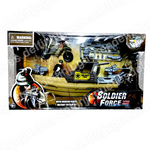 Set Militar Super Lancha Bote + Moto + Figuras + Soldaditos