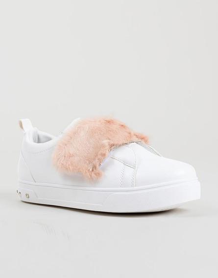 Tenis Pelos Blancos Con Rosa