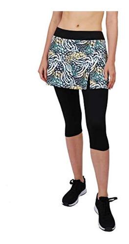 HonourSport Women Running Leggings with Pocket Side Slit Skirted Printed Capris Leggings
