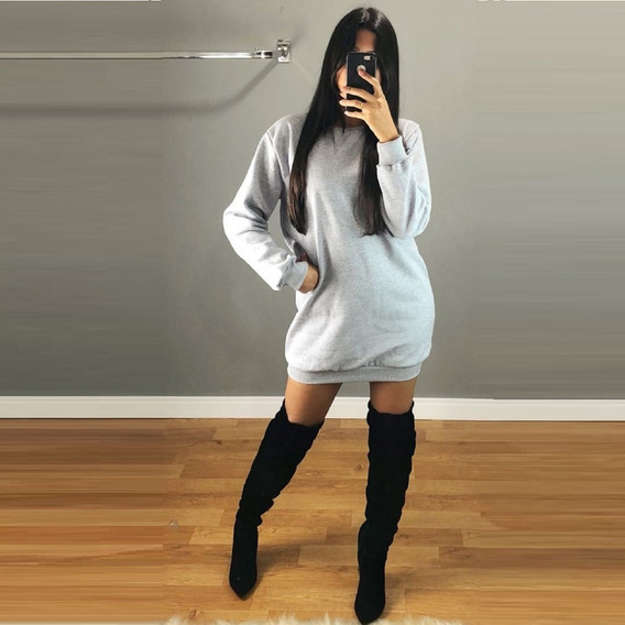 Vestido Feminino Casaco Moletom Grosso Blusa Frio Flanelado