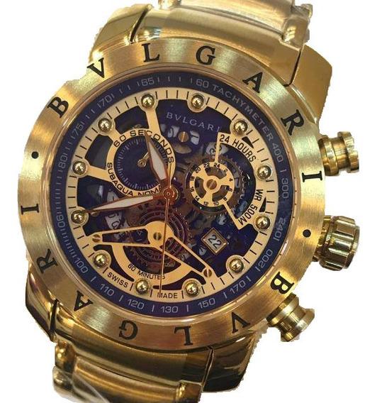 Relógio Bvlgari A Prova Dgua Todo Funcional Com Caixa