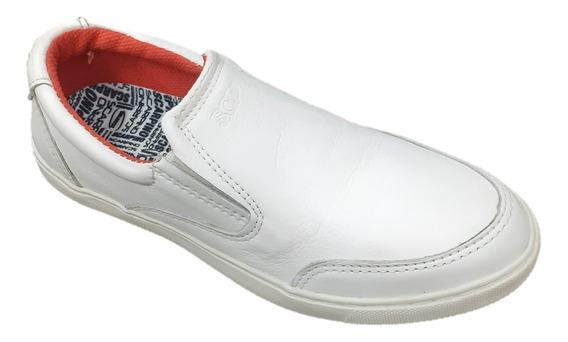 Zapato Scarpino Cuero Nautico Pancha Niño Varon Blanco 8550