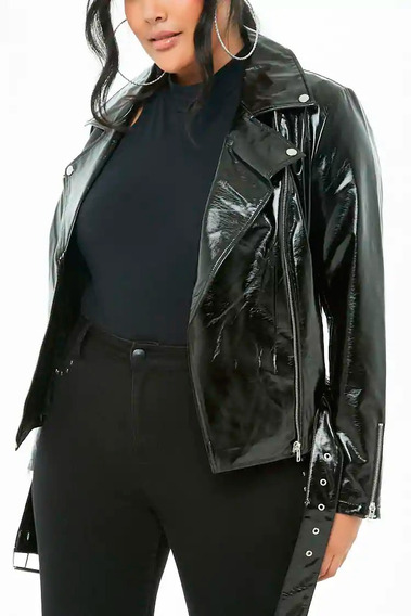 Campera Ecocuero Charol Faux Leather Jacket Forever T Esp