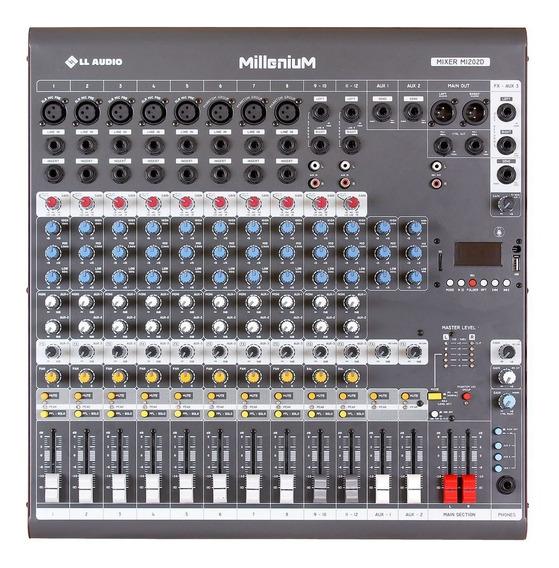Mixer Ll Audio Millenium M1202d (12 Can-3 Aux-usb-sd-bluet)
