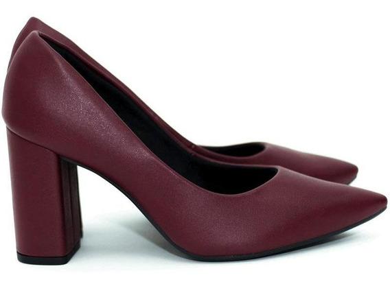 Sapato Feminino Scarpin Bordô Salto Grosso Mariotta