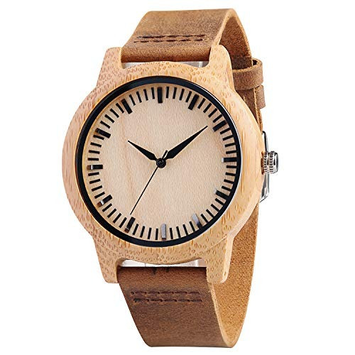 Cucol Mens Bamboo Wooden Watches Stripe Brown Cowhide Leathe