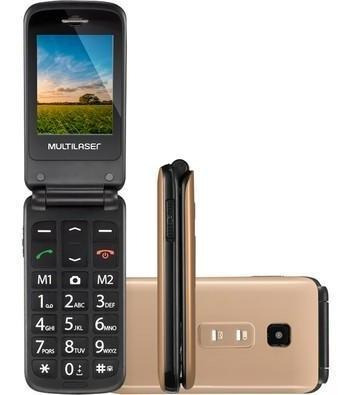 Imagem 1 de 8 de Celular Flip Vita Multilaser Dual Chip Mp3 Dourado - P9043