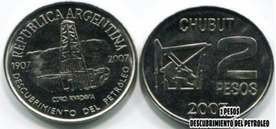 Moneda 2 Pesos Conmemorativa Descubrimiento Del Petróleo