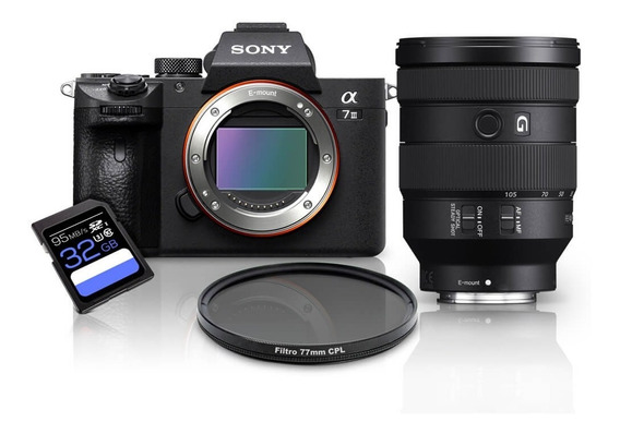 Kit Sony A7iii Mirrorless + Fe 24-105mm G Oss (sel24105g) + Cpl 77mm + 32gb A7miii / A73 / A7m3 / A7 Mark3 / A7 Iii