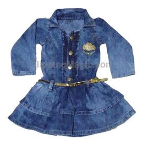 Vestido Jeans Meninas Intantil Modinha Manga Longa Babado