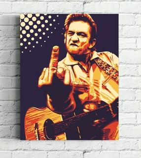 Quadro Johnny Cash Impresso Em Tela De Pintura