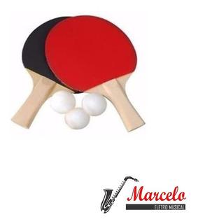 Jogo Raquete Ping Pong Kit P/ Mesa + 3 Bolinhas