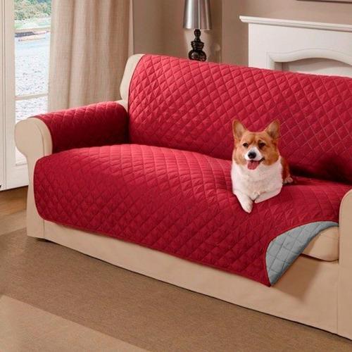 Protector De Sofa 3 Puestos Doble Faz Vinotinto - Gris