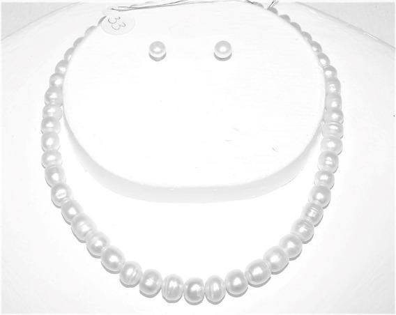Collar Perla Blanca Ca. 9 Mm Cultivada 33