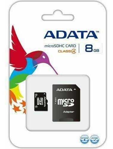 Cartão De Memória Micro Sd A-data 8gb + 1 Adpt. Class 4