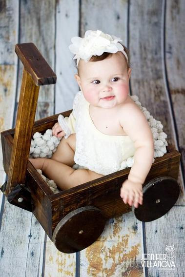 Carrinho Madeira Newborn Foto Bebê Acompanhamento