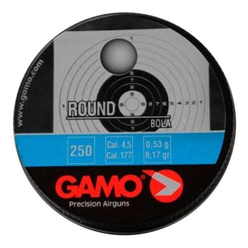 Imagem 1 de 3 de Kit 10 Und. Chumbinho Gamo Round Bola 4.5mm - 250 Unidades