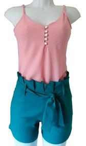 Conjunto Feminino Shorts Laço Moda Blogueira + Regata Crepe