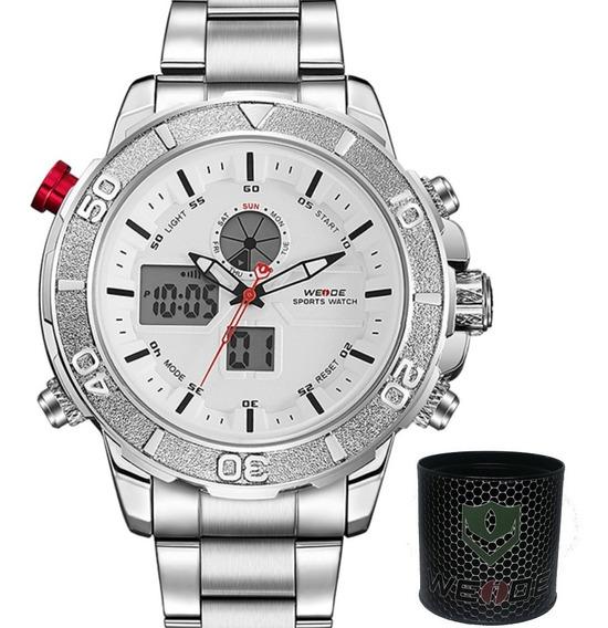 Relógio Masculino Original Grande Prata Cinza Prova De Água