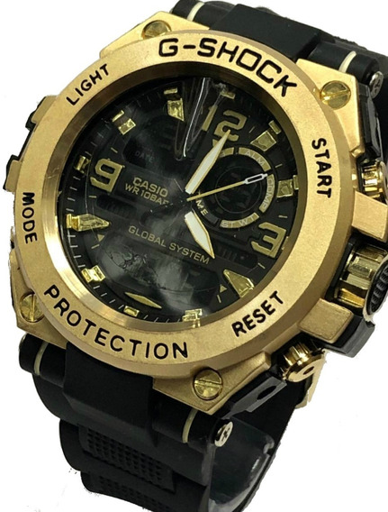 Relógio Analógico Digital Masculino Dourado Promoção