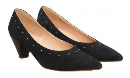 Zapatos Stilettos De Vestir Mujer Lazaro Negro Gamuza