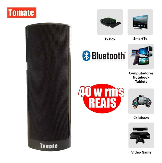 Caixa Som Super Bass Bluetooth Tomate 40w Tv Pc Ios Android