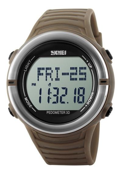 Relógio Pedômetro Masculino Skmei Digital 1111 Marrom Prata