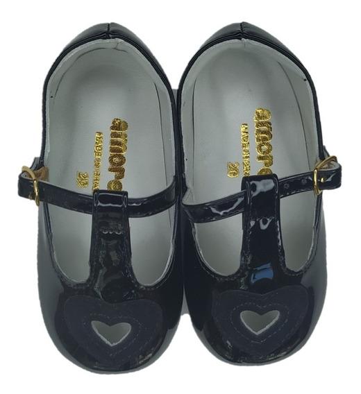 Sapato Infantil Feminino Amoreco Preto Coração 9928