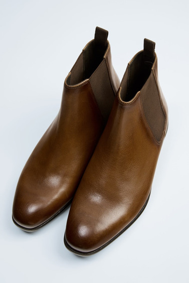 Zara Brown Leather Chelsea Boots