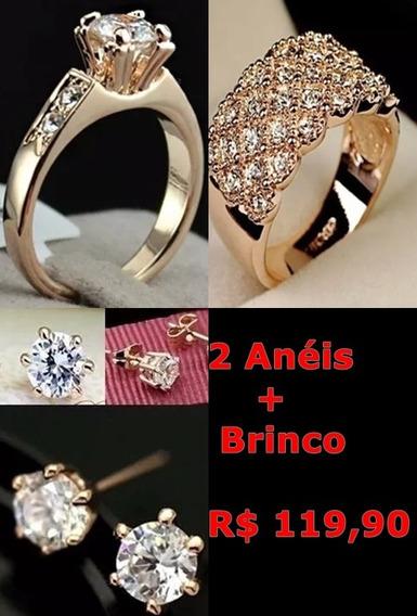 Anéis Com Zircônia Folheados Ouro Rosé 18 K