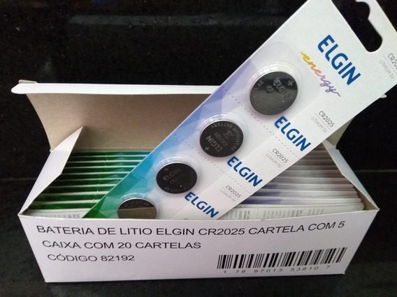 250 Pcs Pilha Bateria Moeda Cr2025 3v Elgin Cartela