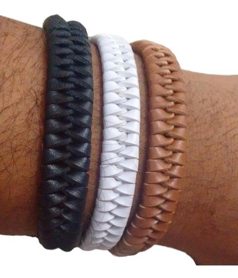 3 Pulseiras Bracelete Masculina Tribal Couro