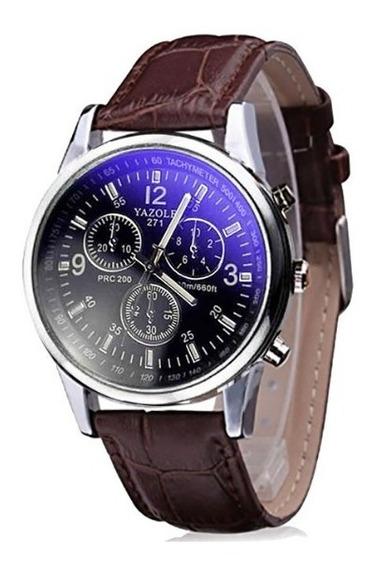 Relógio Luxo Masculino Yazole Pulso Social Pulseira Marrom
