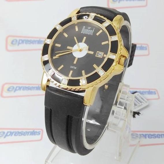 Relógio Dumont Feminino Dourado E Preto Cristais Sv48031s