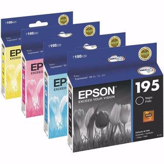 Cartucho Epson 195 Pack 4 Originales 1 X Color Xp211 Xp201