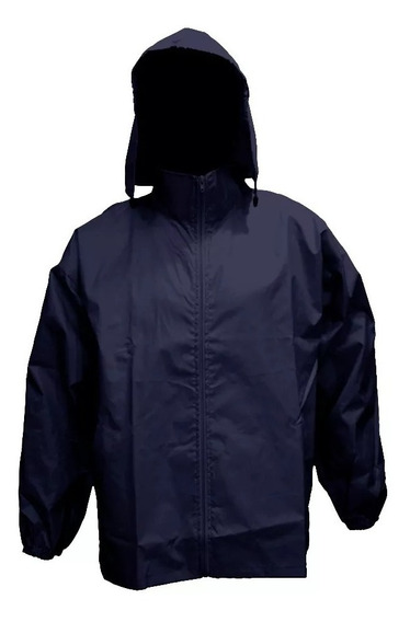 Rompeviento Impermeable Liso Azul Marino Talle M