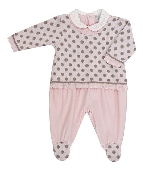 Macacão De Bebê Feminino Suedine E Tricot Ana Julia