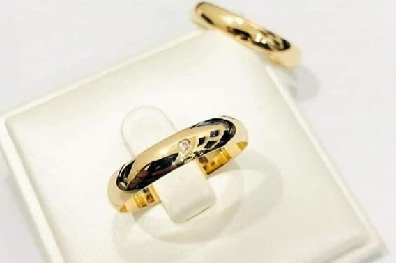 Par Alianças Noivado E Casamento Banho Em Ouro 18 K +estojo