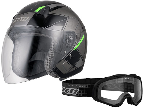 Capacete X11 Freedom Metric Moto + Óculos Mx2 Cross A Vista