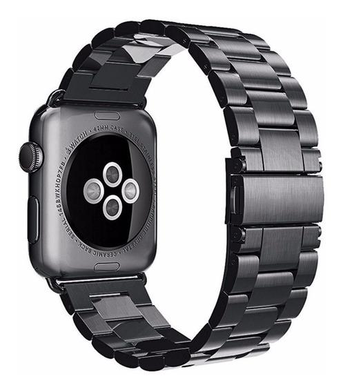 Pulseira Luxo Aço Inoxidável P/ Apple Watch 42/44mm - Preta