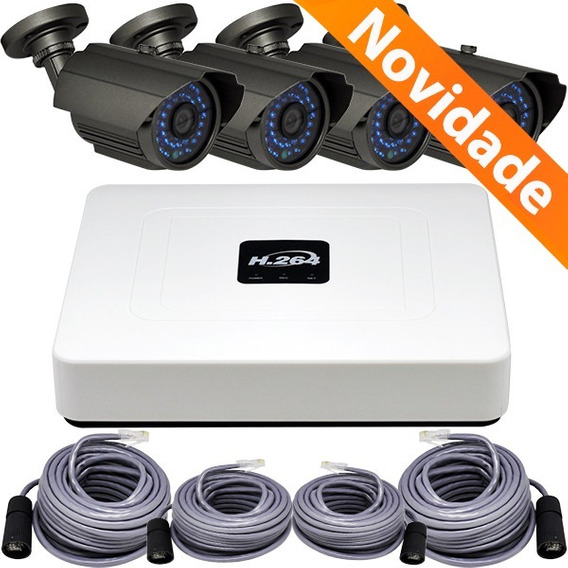Kit Nvr H.264 Stand Alone 4 Canais Com Camera Ip