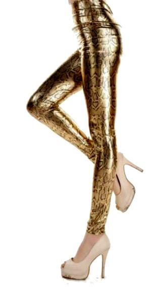 Sexy De Cuero Leggings Golden Snake Pant Tiro Medio