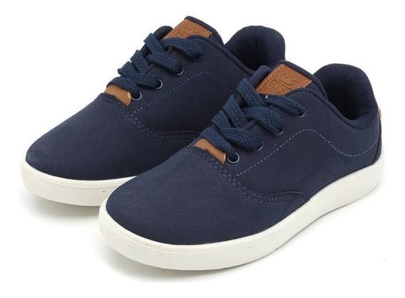 Sapato Juvenil Tam.34 Ou 35 Camurça Marinho/caramelo - 20254