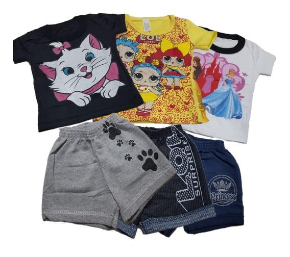 3 Conjunto Shorts Moleton Infantil E Camiseta