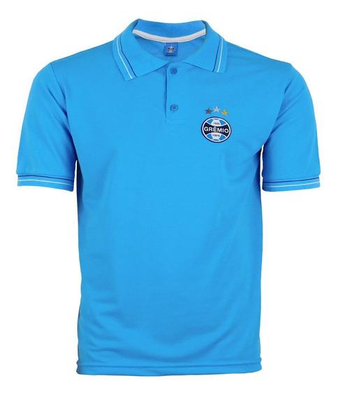 Camisa Gola Polo Do Gremio Azul Clara Listra Branca Na Gola